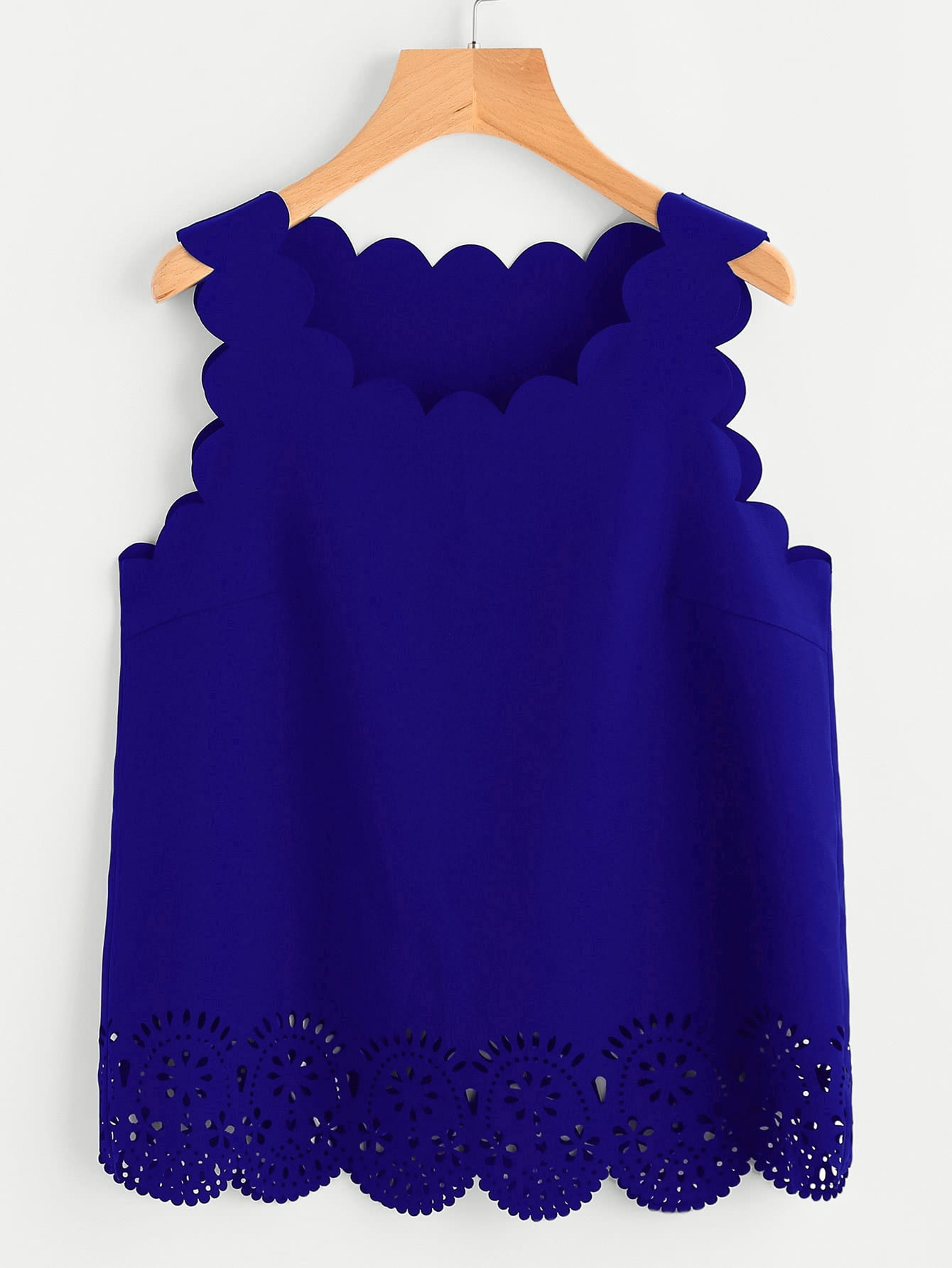 Scallop Edge Laser Cut Shell Top scallop edge halter top