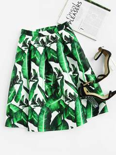 Jungle Leaf Print Box Pleated Flared Skirt