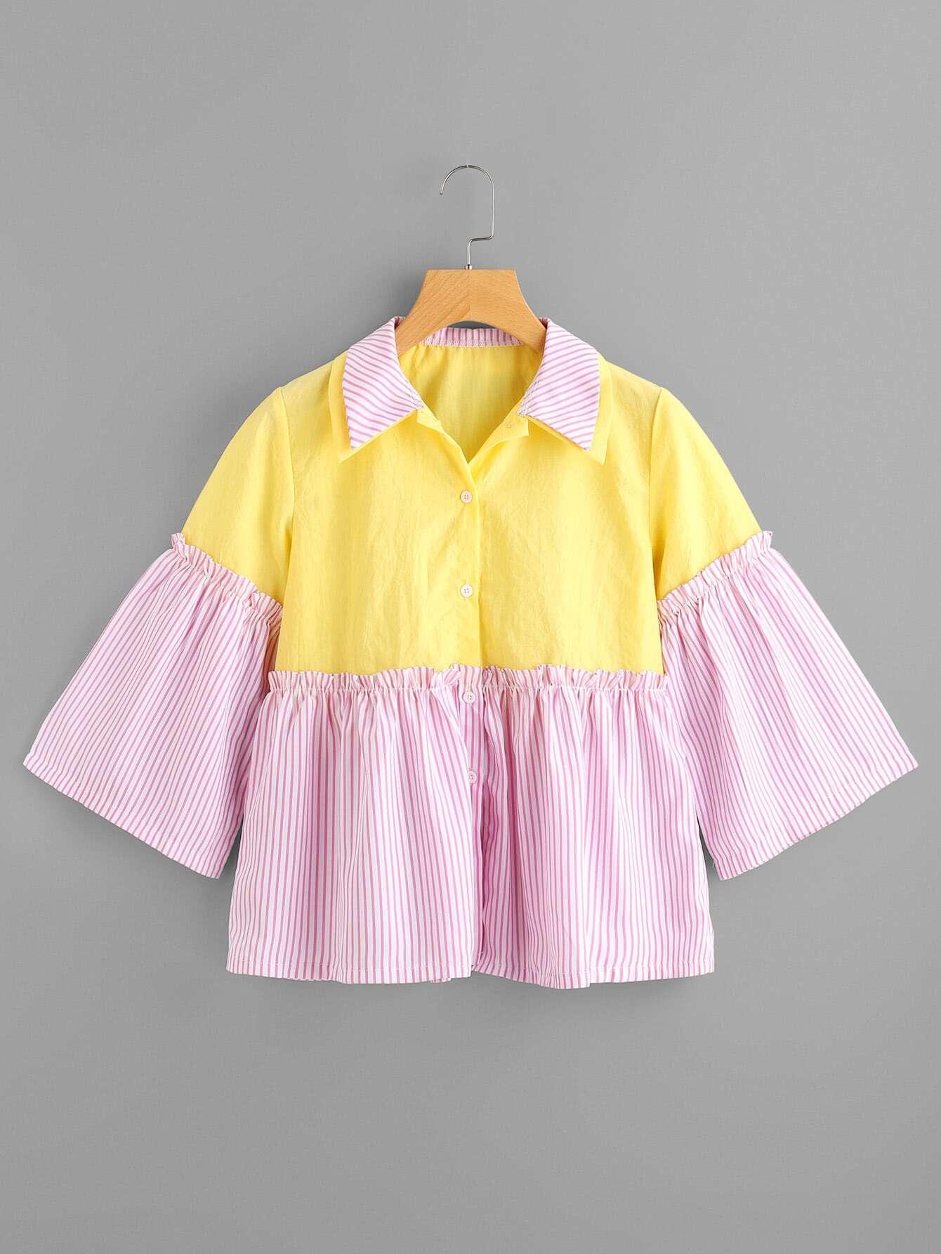 Фото Double Collar Contrast Striped Shirt. Купить с доставкой