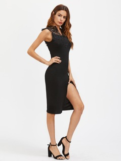 V Notch Lace Yoke Slit Front Dress