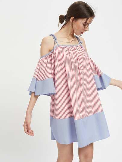 Tie Shoulder Striped Flute Sleeve Dress