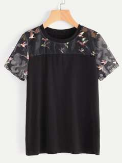 Bird Print Mesh Yoke T-shirt