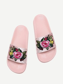 Velvet Floral Patch Slides