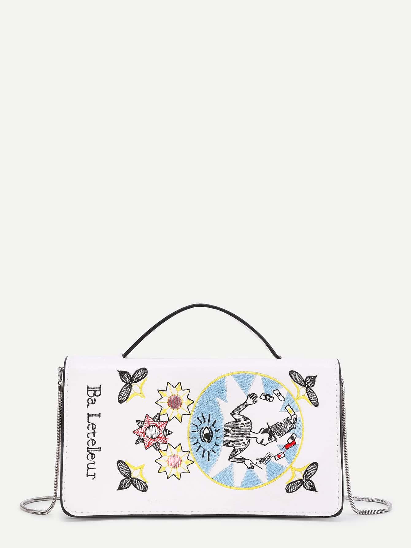 Фото Sun And Flower Embroidery PU Shoulder Bag. Купить с доставкой