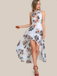 High Neck Cut Out Floral Dress WHITE