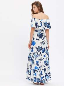 Flower Print Flounce Off Shoulder Tiered Dress pictures