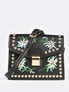 Embroidered Stud Crossbody Bag BLACK