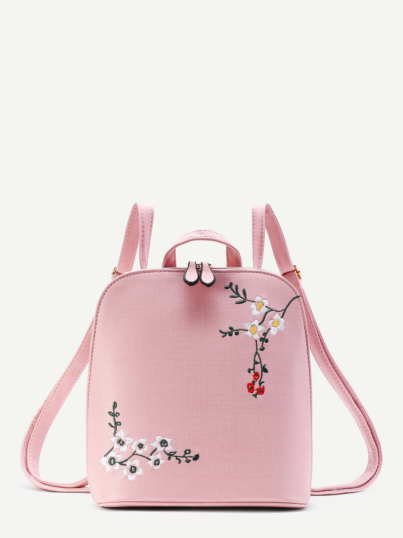 Plum Blossom Embroidery PU Backpack