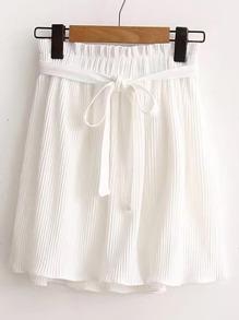 Tie Waist Pleated Skirt