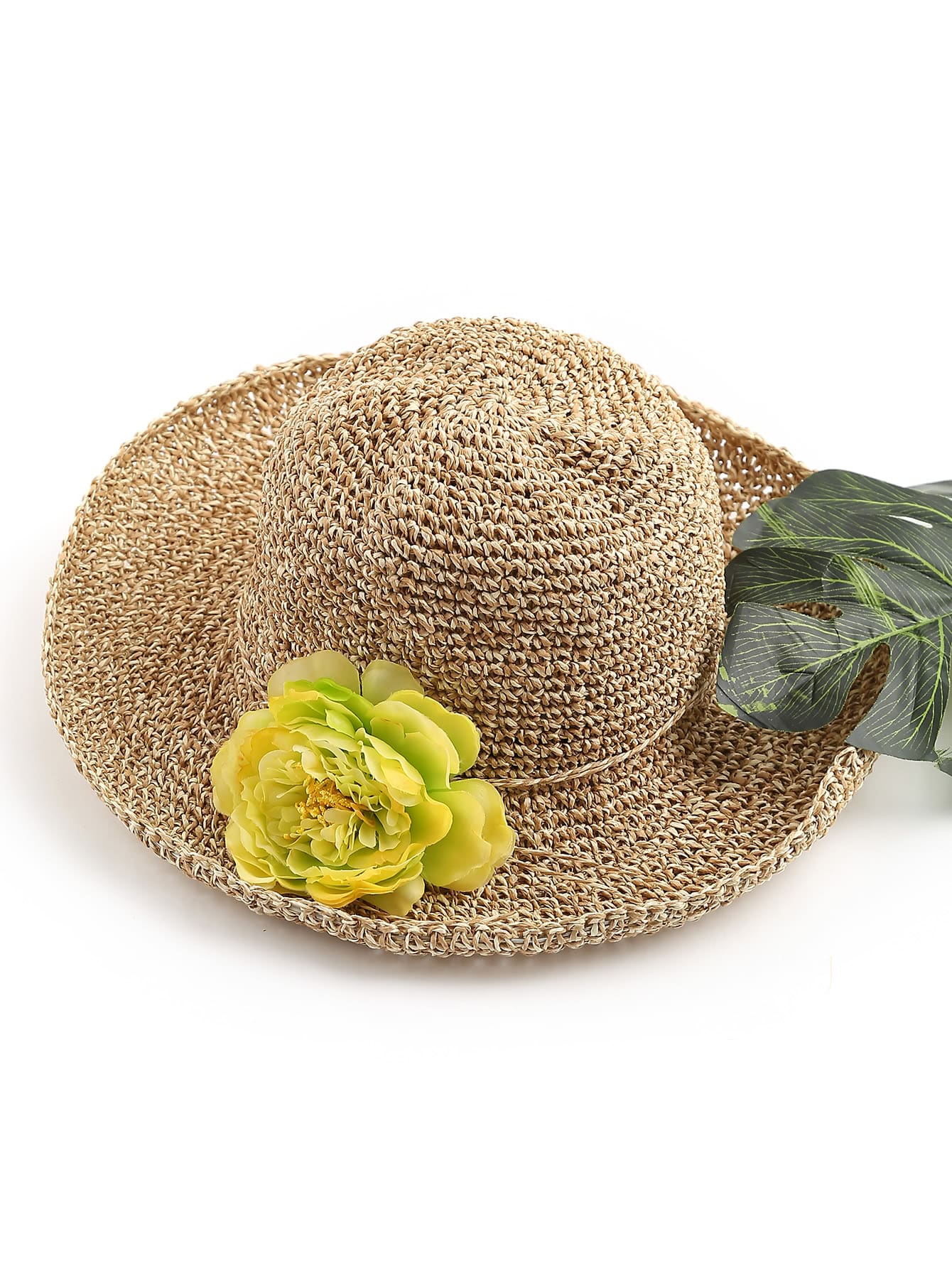 Фото Flower Embellished Straw Beach Hat. Купить с доставкой