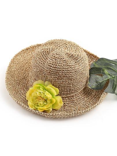 Flower Embellished Straw Beach Hat