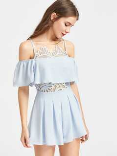 Cold Shoulder Lace Insert Frill Playsuit