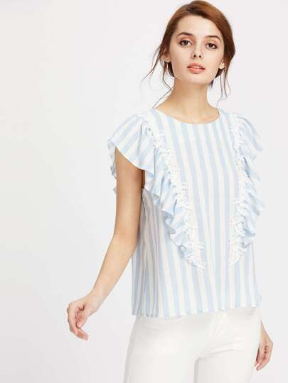 Lace Applique Frill Cap Sleeve Keyhole Back Striped Top
