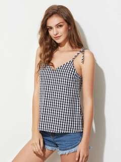 Self Tie Strap V Back Checkered Cami Top