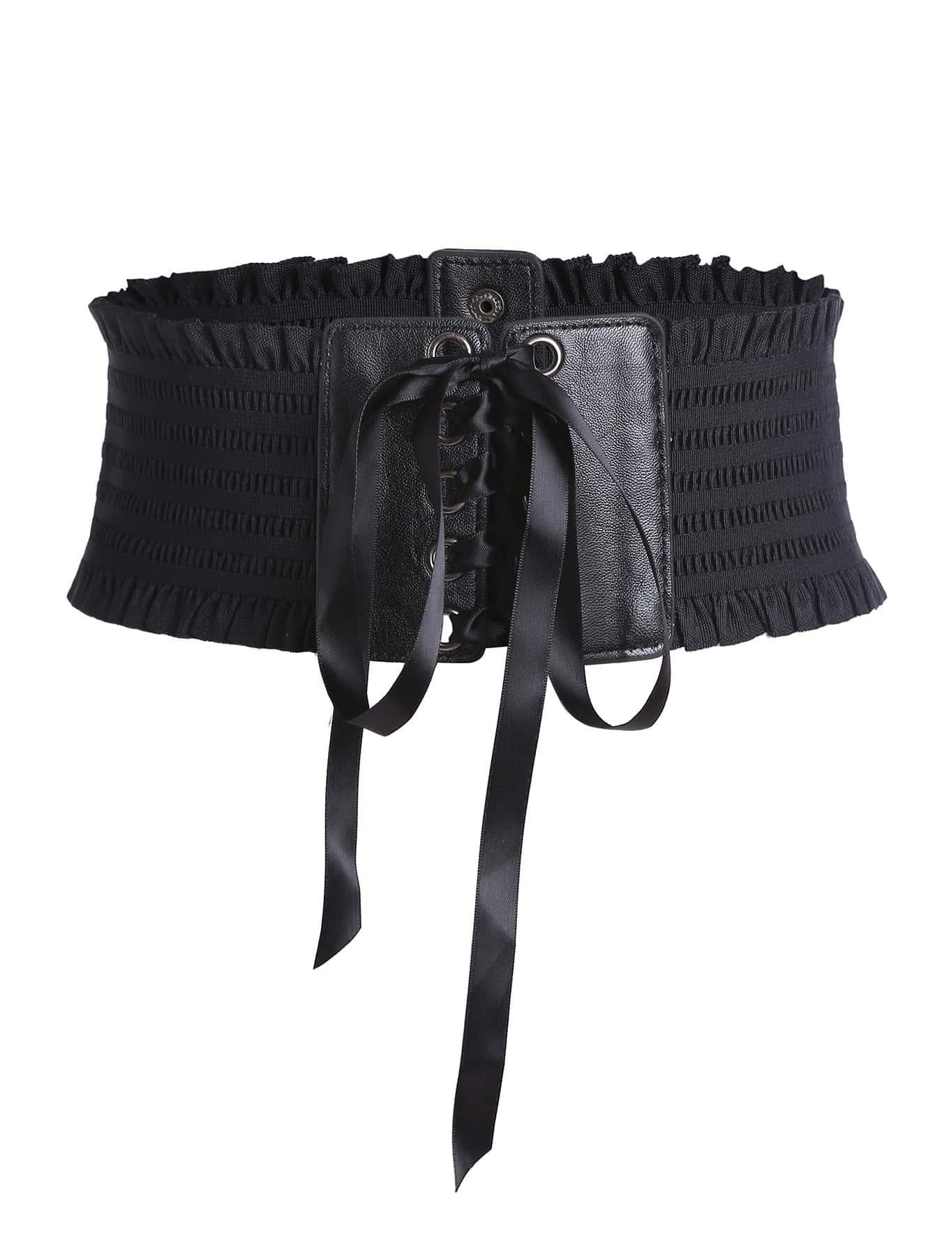Фото Shirred Lace Up Waist Belt. Купить с доставкой