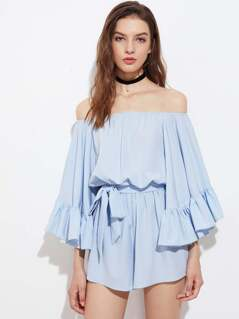 Exaggerated Fluted Sleeve Self Tie Romper