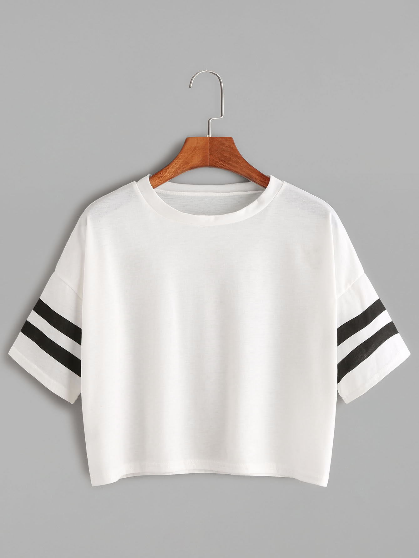 White Dropped Shoulder Seam Varsity Striped Crop T-shirt платье seam seam mp002xw18uic
