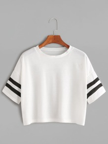 White Dropped Shoulder Seam Varsity Striped Crop T-shirt