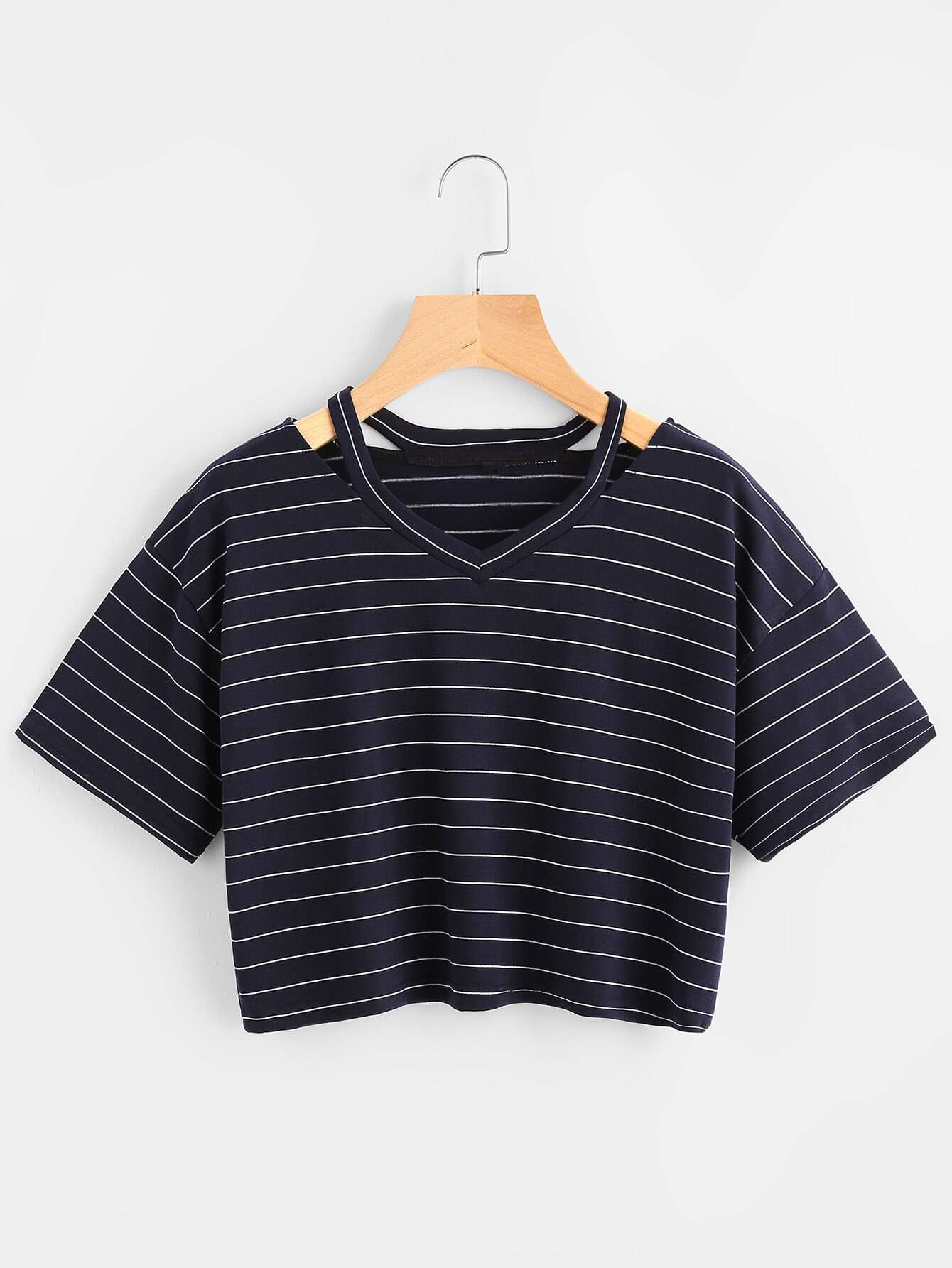 Ripped Neck Striped Crop Tee