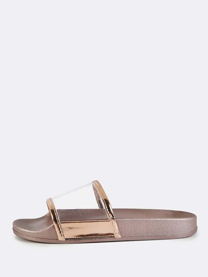 Open Toe Lined Slide Sandals ROSEGOLD