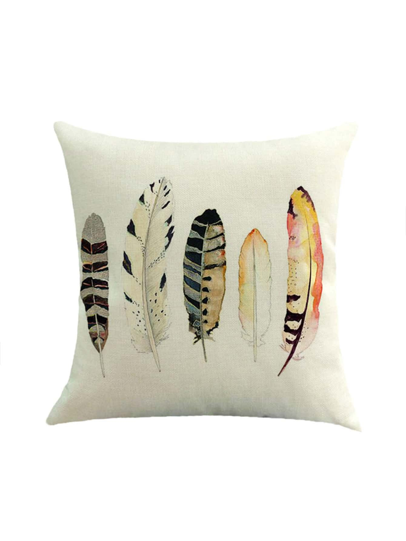 Фото Watercolor Feather Print Pillowcase Cover. Купить с доставкой