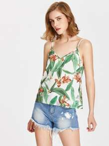Tropical Print Strappy Cami Top