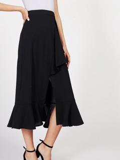 V Notch Front Ruffle Trim Skirt