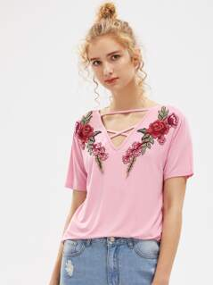 Embroidered Flower Patch Strappy Neck Tee
