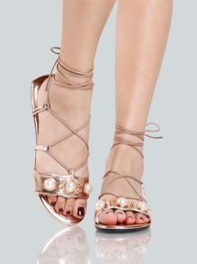 Metallic Pearl Wrap Up Sandals ROSE GOLD