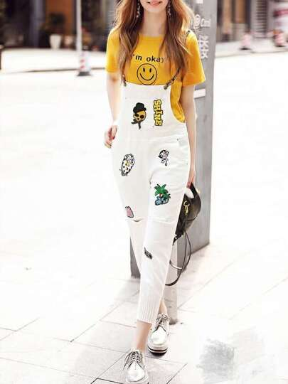 Smiley Face T-Shirt Two-pieces Embroidered Overalls
