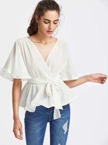 Flutter Sleeve Belted Surplice Wrap Top