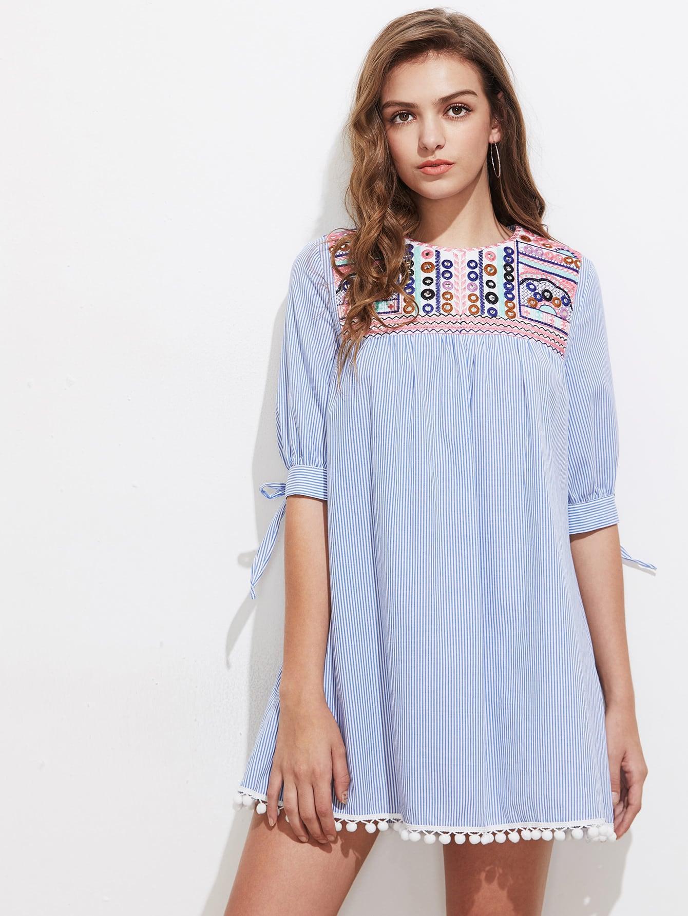 Фото Embroidered Yoke Tie Sleeve Pom Pom Trim Dress. Купить с доставкой
