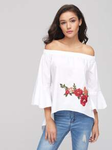 Embroidered Flower Patch Bell Sleeve Open Back Top