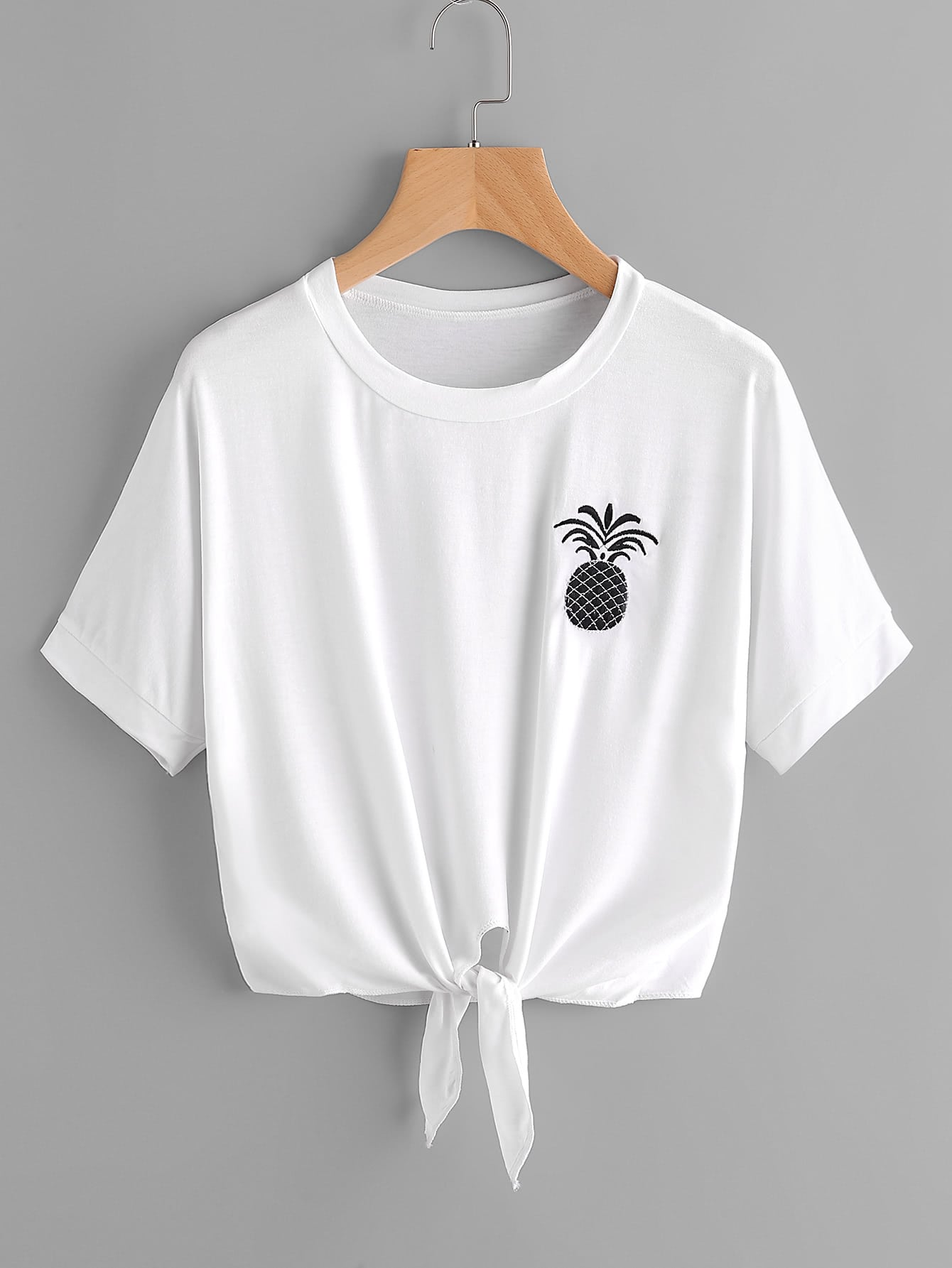 Pineapple Embroidered Tie Front Tee tee170512003