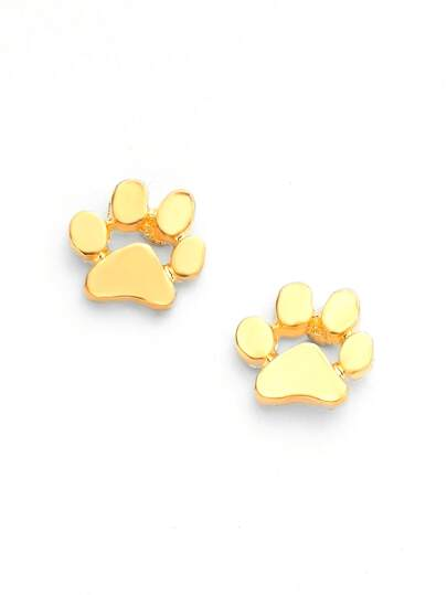 Metal Paw Cute Stud Earrings