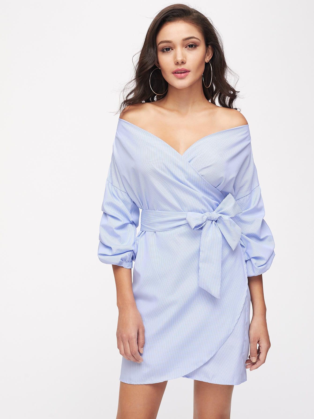 Фото Bardot Bow Tie Waist Pinstripe Dress. Купить с доставкой