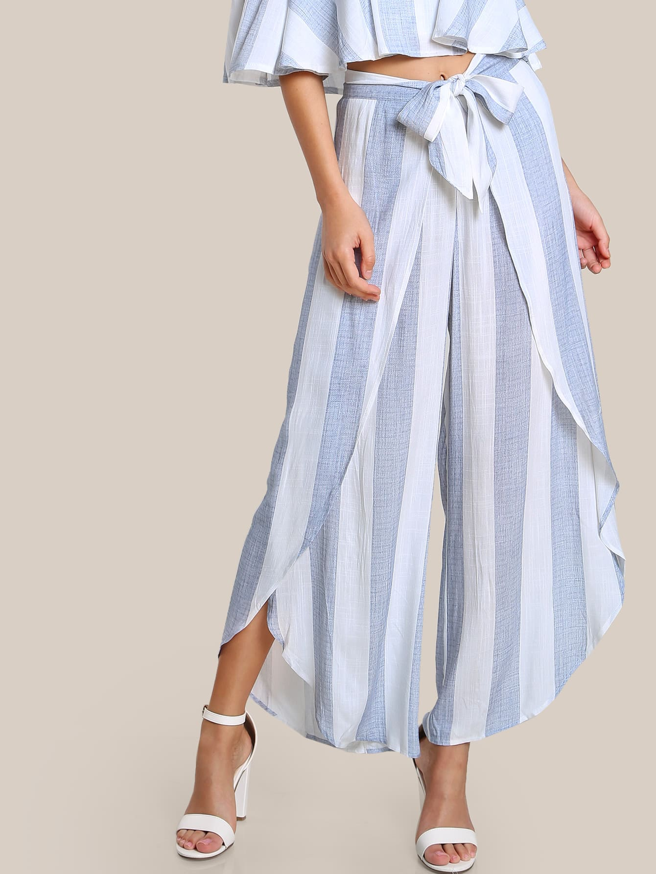 Image of Front Tie Striped Overlap Pants