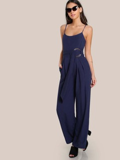 O Ring Spaghetti Strap Jumpsuit NAVY