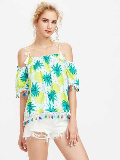 Self Tie Shoulder Pineapple Print Dot Tassel Top