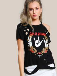 Cutout Shoulder Distressed Graphic Tee