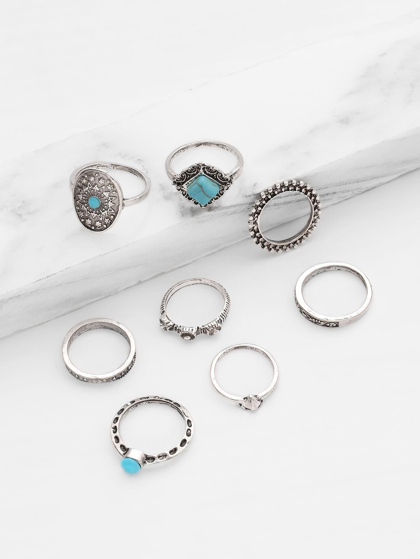 Фото Turquoise Detail Multi Shaped Ring Set 8pcs. Купить с доставкой