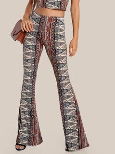 Vintage Print Flare Leg Pants RUST