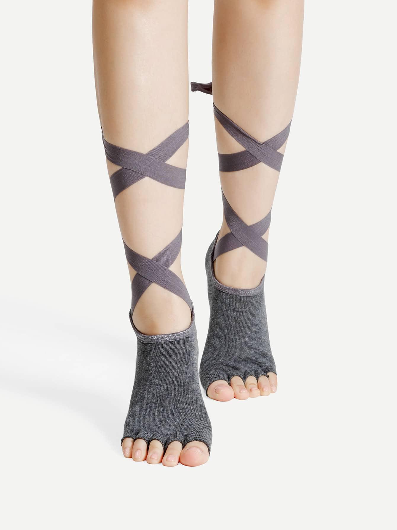 Фото Lace Up Half Toe Yoga Socks. Купить с доставкой