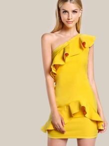 Single SHoulder Ruffle Hem Dress YELLOW