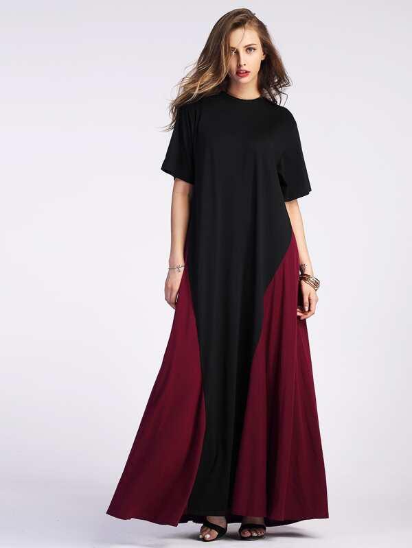 sc 1 st  SheIn.com & Color Block Floor Length Tent Dress -SheIn(Sheinside)