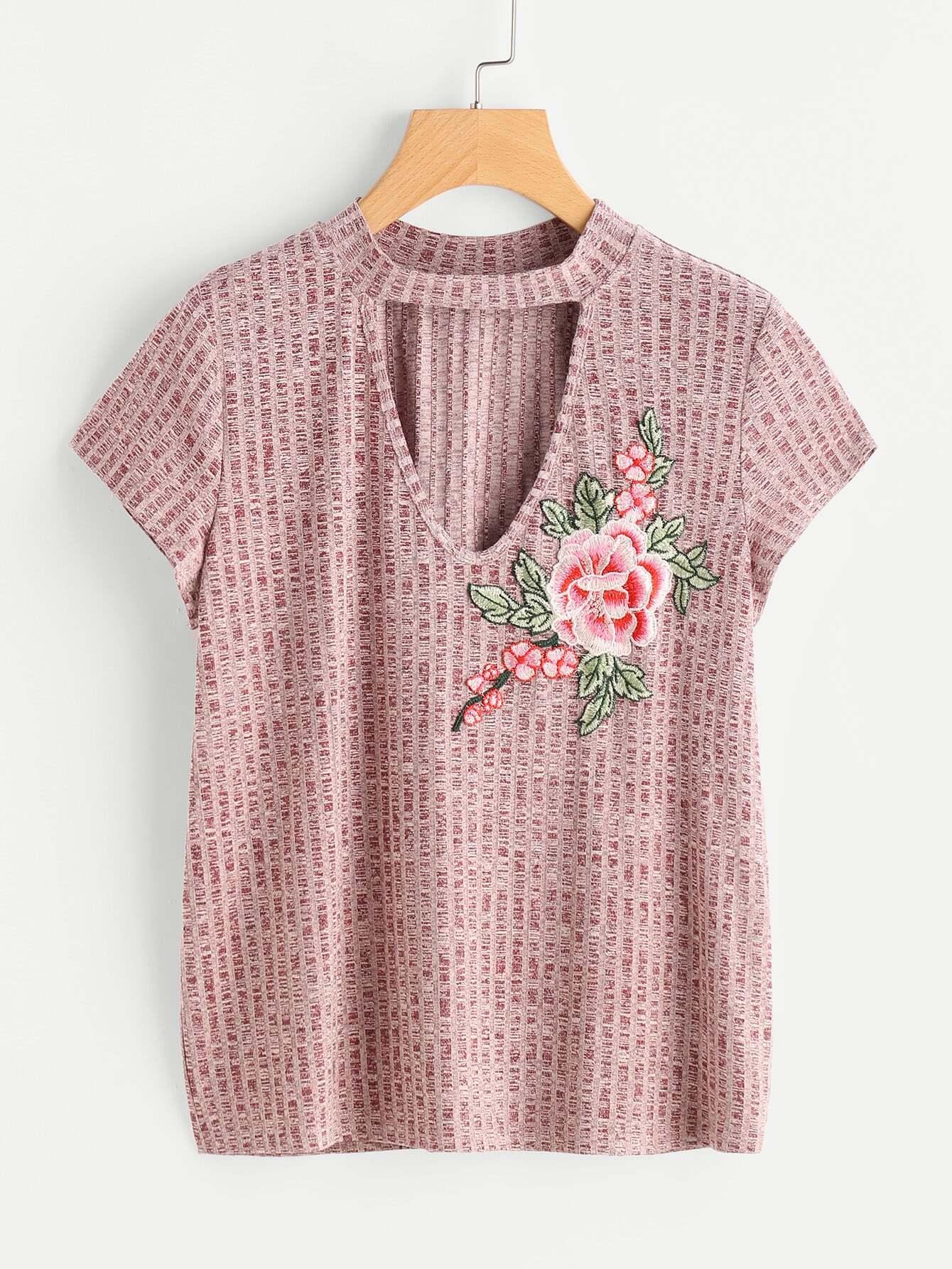 Rib Knit Flower Applique Choker Neck Tee tee170630701