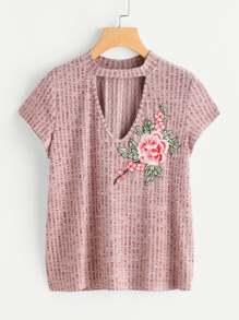 Rib Knit Flower Applique Choker Neck Tee