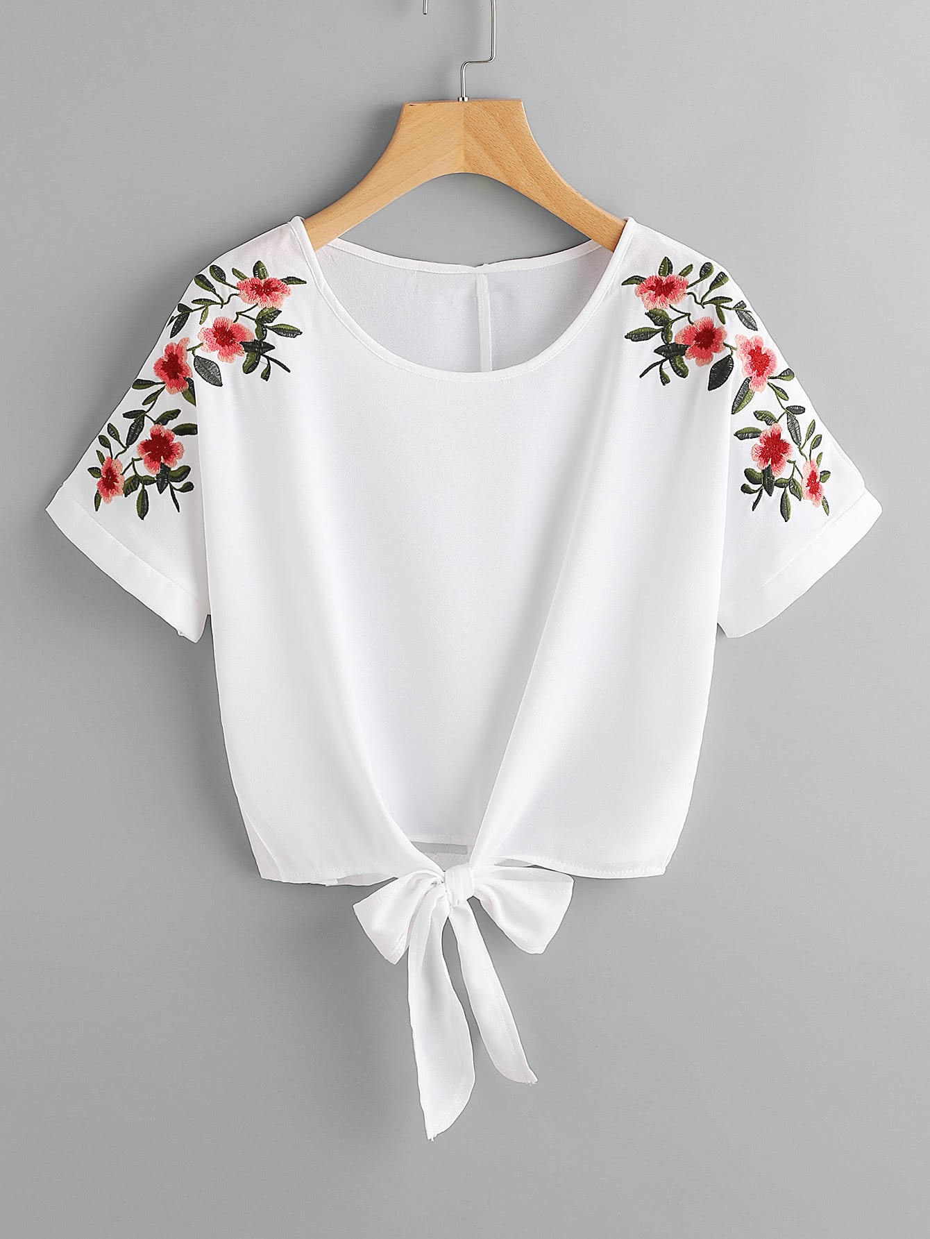 Flower Embroidery Knot Front Top embroidery applique knot back fitted