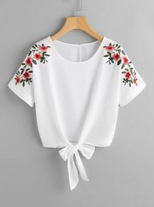 Flower Embroidery Knot Front Top