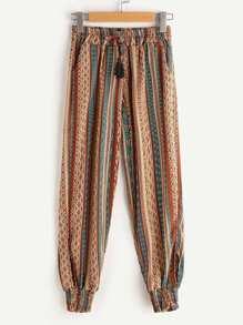 Aztec Print Drawstring Waist Harem Pants